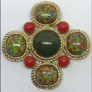 Vintage Sarah Coventry Marble Maltese Cros…